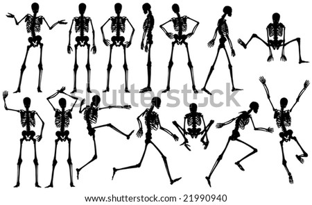 Set of editable vector male skeleton outlines