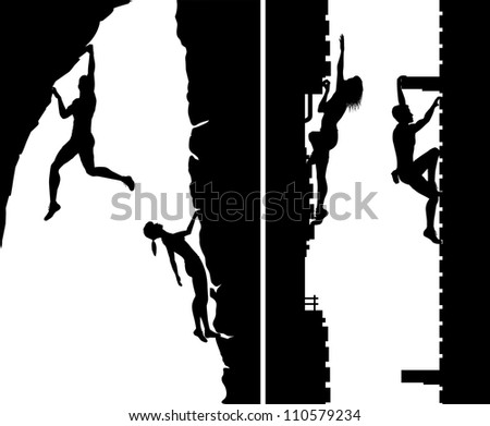 Set of editable vector silhouettes of free climbers not using safety ropes, with climbers as separate objects - stock vector