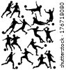 Set of editable vector silhouettes of men playing football with all figures as separate objects - stock vector