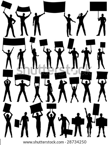 Set of editable vector silhouettes of protesters and banners with all elements as separate objects - stock vector