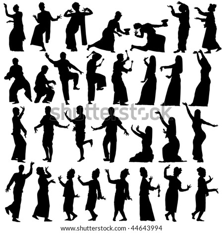 Set of editable vector silhouettes of traditional Thai dancers