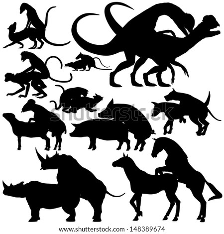 Set of editable vector silhouettes of various animals mating with each figure as a separate object - stock vector