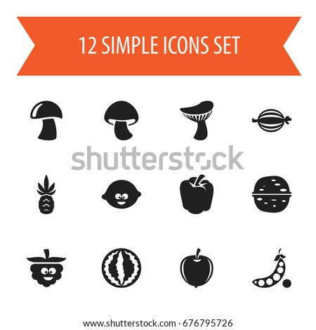 Set 12 Editable Vegetable Icons Includes Stock Vector Hd Royalty