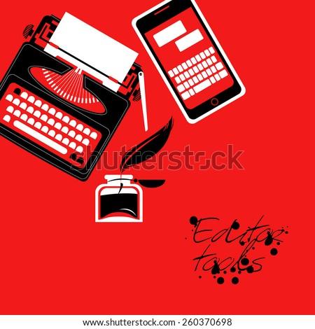 Set of editor tools. Vector illustration - stock vector