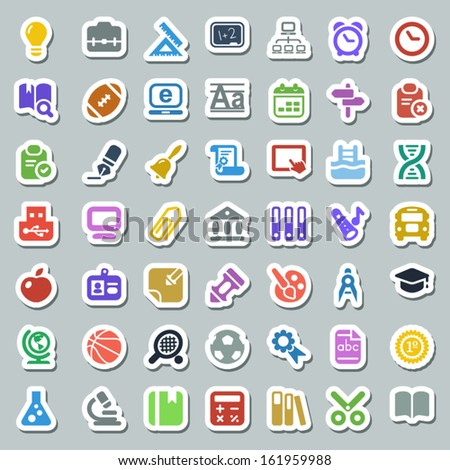 set of education and school icons, colorful & sticker - stock vector