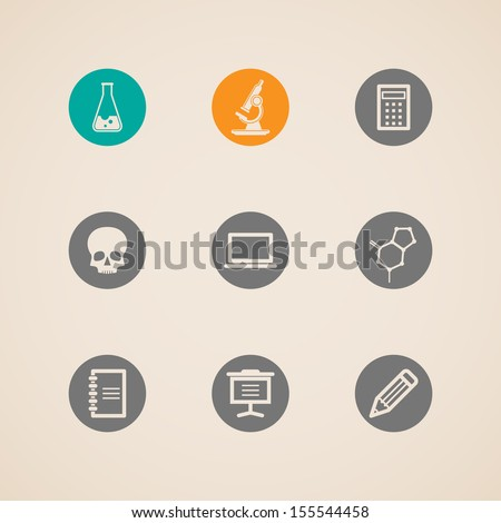 set of education and science icons  - stock vector