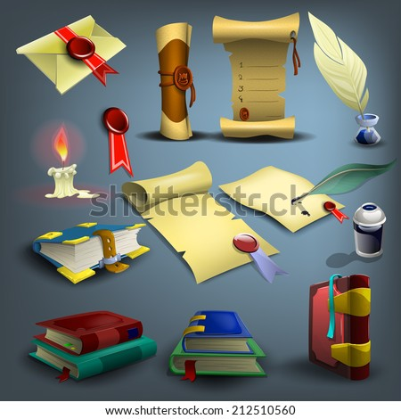 Set of education and writing. Vector illustration. - stock vector
