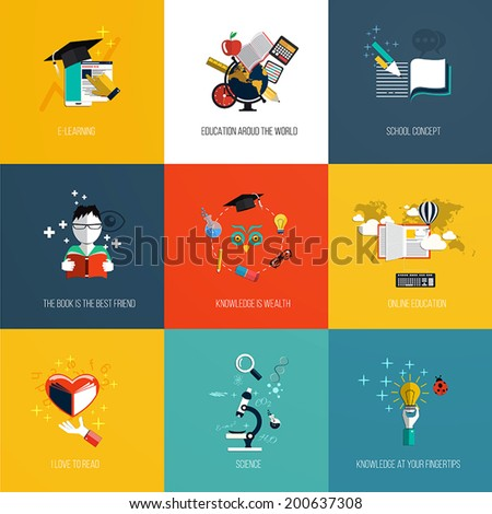 Set of education icons.Flat design. Vector - stock vector