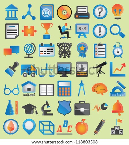 Set of education icons for design - vector icons - stock vector