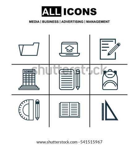 Set Of 9 Education Icons. Includes Measurement, Document Case, Education Tools And Other Symbols. Beautiful Design Elements.