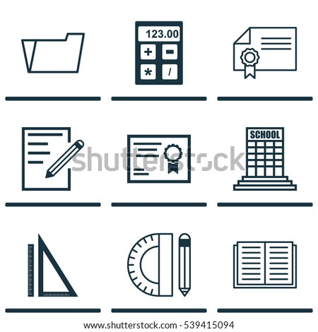 Set Of 9 Education Icons. Includes Opened Book, Electronic Tool, Certificate And Other Symbols. Beautiful Design Elements.