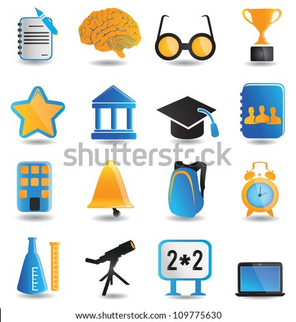 Set of education icons - part 1 - vector icons - stock vector