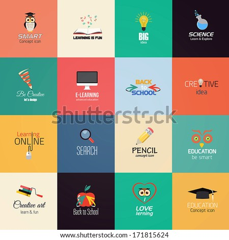 Set of education icons. Vector - stock vector