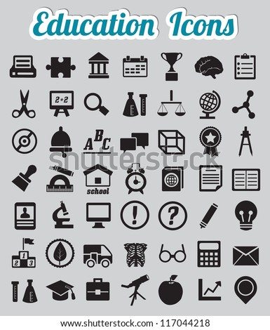 Set of 50 education icons - vector icons - stock vector