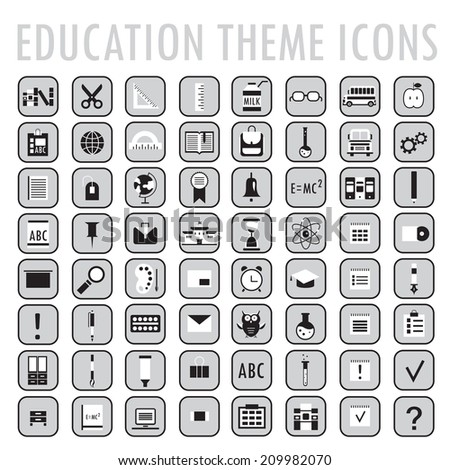 Set of 64 education theme icons. Back to school. Vector illustration