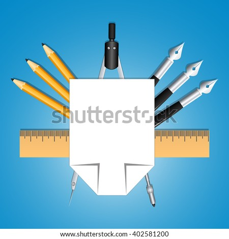 Set of educational decoration tools. Sheets of paper, pencils, pens, ruler and compass. Designed as heraldry for students and teachers. Education and creativity. Vector Image. - stock vector
