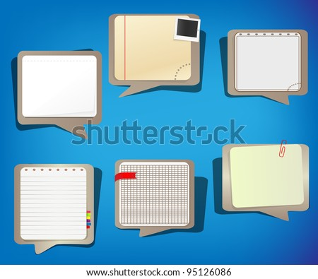 Set of educational notepad speech bubbles