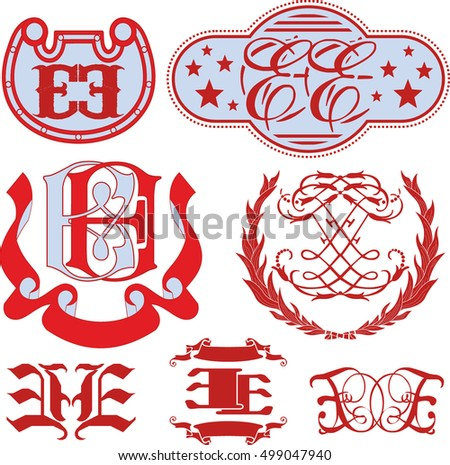 Set of EE monograms and decorative emblem templates with two letters EE. Vector collection.