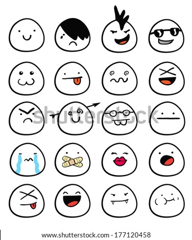 Set of egg smiley faces with different expressions - stock vector