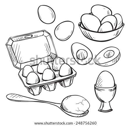 Set of eggs drawings. Hand drawn. Vector illustration.  - stock vector