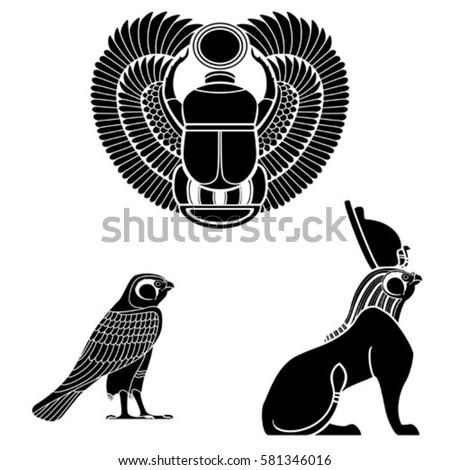 Set Egyptian Ancient Symbol Egyptian Element Stock Vector Hd