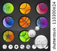 Set of eight ball sport shaped icon emblem colorful stickers, eps10 vector - stock photo