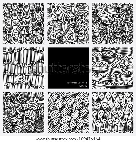 Set of eight black and white wave patterns - stock vector