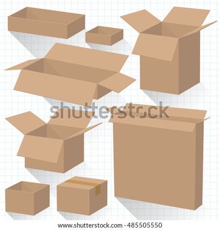 Set of eight blank vector cardboard boxes isolated on white background.