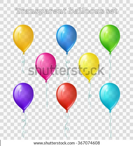 Set of eight bright colored transparent balloons - stock vector
