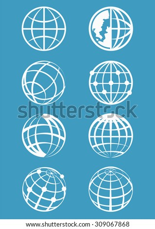 Set of eight characters globe for your design works,Earth vector icons set