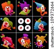 set of eight clown portraits wearing funny hats and accessories on dark background - stock vector