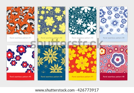 Set of eight colorful floral seamless pattern