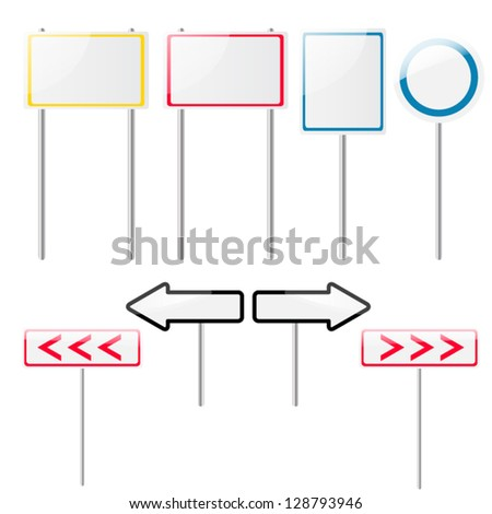 Set of eight glossy and shiny blank road signs. Just add your text or images.