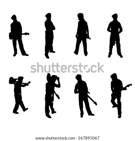 Set of eight Guitar Player silhouettes Vector Image