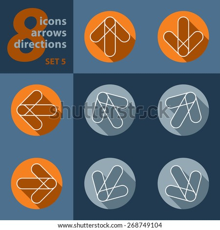 set of eight icons with arrows in all eight directions with stylized shadows - stock vector