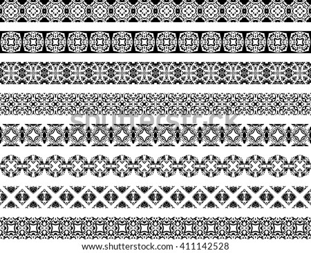 Set of eight illustrated decorative borders made of Portuguese tiles in black