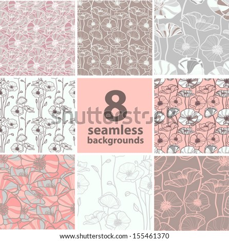 set of eight seamless backgrounds with poppy - stock vector