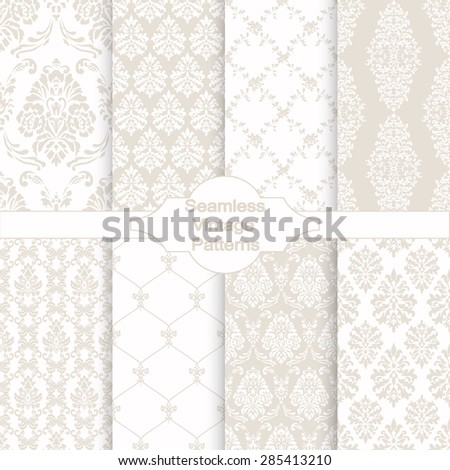 Set of eight seamless damask patterns. Classic beige wallpapers. Vintage vector backgrounds. - stock vector