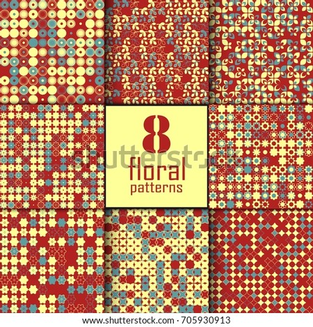 Set of eight seamless floral pattern with colored elements, vector abstract background, colorful floral background