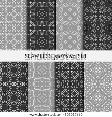 Set of eight Seamless geometric line patterns. Contemporary graphic design. Endless linear backgrounds collection, seamless lace texture for banners, flyers, invitation cards. Monochrome ornament