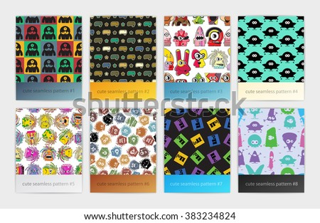 Set of eight seamless pattern with different colorful monsters and robots. Vector colorful textures and backgrounds.
