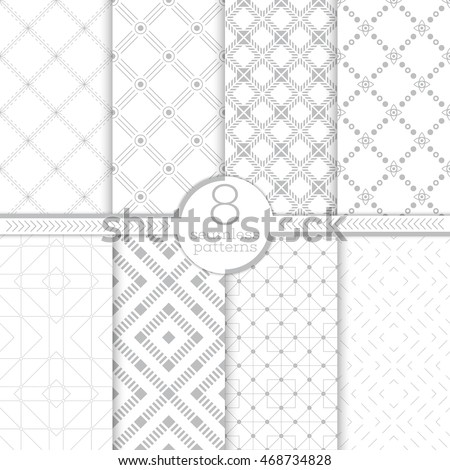 Set of eight seamless patterns. Modern stylish textures. Regularly repeating geometrical tiles with different geometric shapes. Thin line. Rhombus. Diamond. Dot