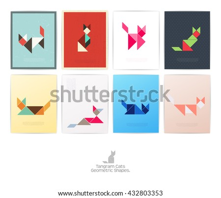 Set of eight tangram cats. geometric shapes, Vector illustration