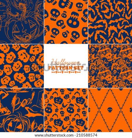 Set of eight trendy seamless Halloween patterns. - stock vector
