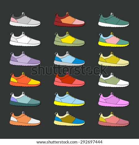 Set of eighteen icons which consist style color sneakers - stock vector