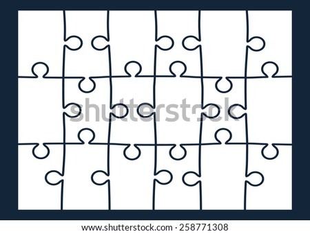 Set of eighteen puzzle pieces. Vector illustration, eps 8. - stock vector