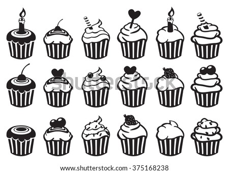 Set of eighteen variety of cupcake vector illustration in black and white isolated on white background. - stock vector