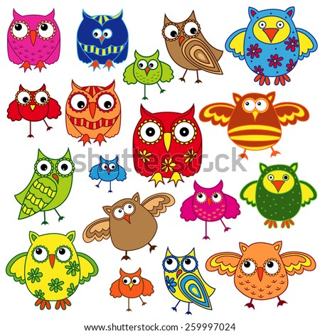 Set of eighty colourful vector owls isolated on white background - stock vector