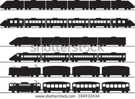 Set of electric and diesel trains illustrated on white - stock vector