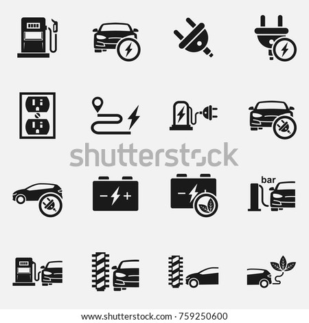 Set Electric Car Electrical Charging Station Stock Vector Royalty